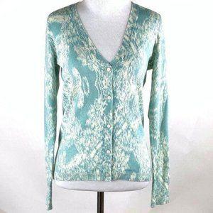 Talbots Petites Sweater size P blue white V-neck